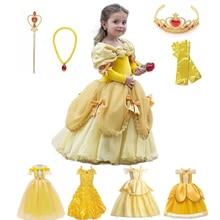 Платье принцессы Белль для девочки, детское бальное платье с цветочным рисунком, Детский костюм для косплея Bella Красавица и чудовище, необыв...