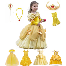 Princesa belle vestido para menina crianças vestido de baile floral criança cosplay bella beleza ea besta fantasia festa