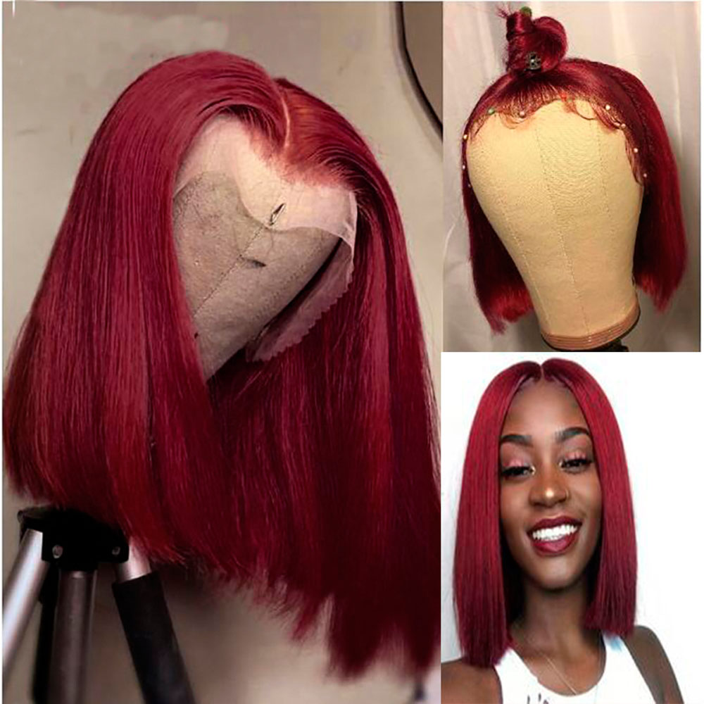 99J Straight Bob Wigs For Black Women 150% Density Short 13×6 Lace Front Human Hair Wigs Straight 99j 13×6Lace Front Wig