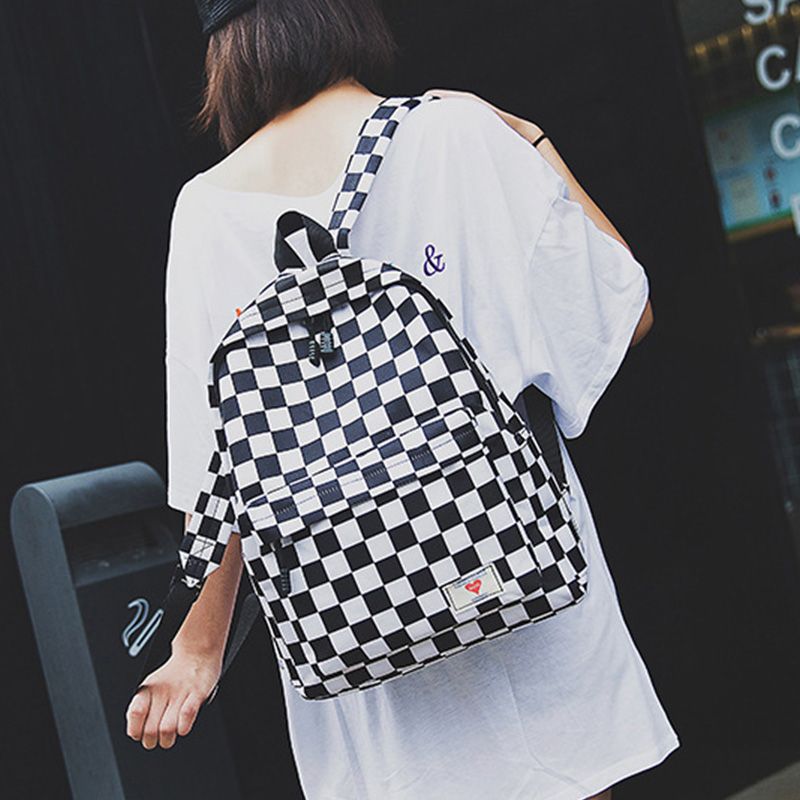 Fashion Canvas Backpack Trend Women Checkerboard Wear Daypack Laptop Bag Large Capacity Outdoor Travel Student Book Schoolbag