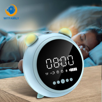 HD Mirror with Night Light Alarm Clock Fm Radio Wireless Bluetooth Speaker LED Digital Kids Clocks Support AUX Tf Player