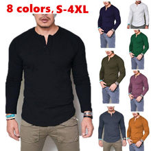 2021 Fashion Casual Men T-shirt Slim Fit Custom T-shirt Buttons Design Long Stylish Luxury V-Neck Fitness T-shirt Tee Shirt Male