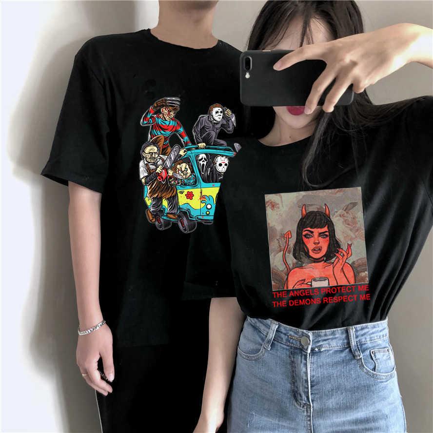 Satana Demone Morte Spaventoso Male T-Shirt Hip Hop Satanist Grim Reaper T-Shirt Satanismo Del Cranio Anime Maglietta di Estate Top magliette Maschio