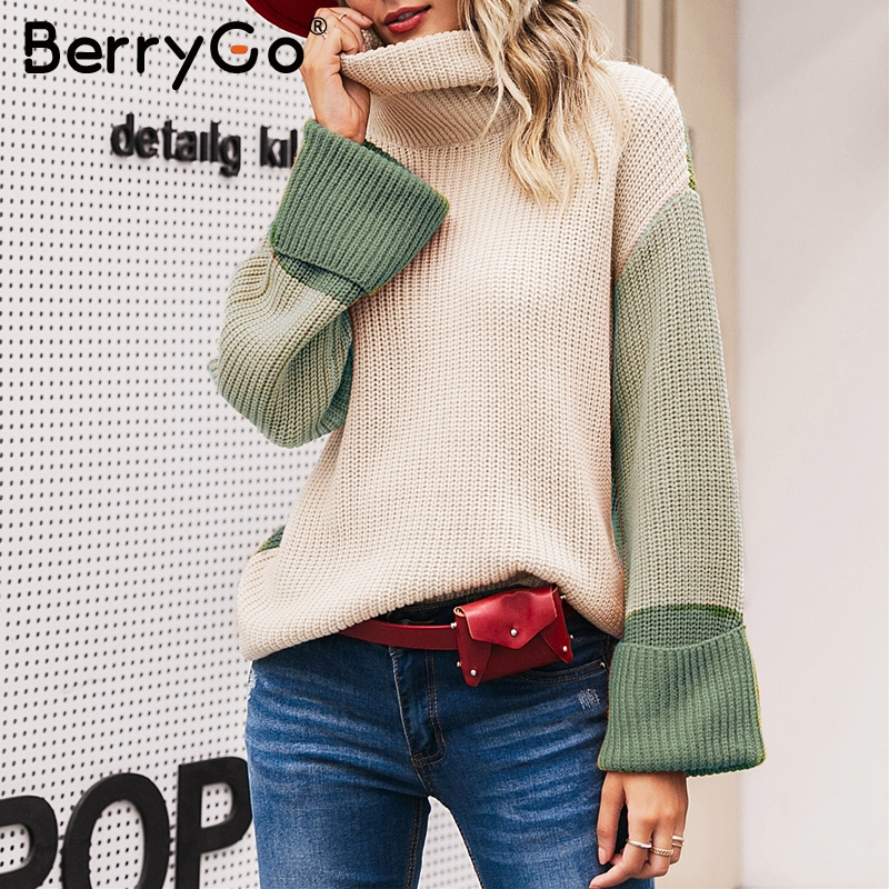BerryGo Turtleneck Patchwork Sweaters Women Casual Long Sleeve Autumn Pullover Female Jumpers Winter Streetwear Ladies Sweaters