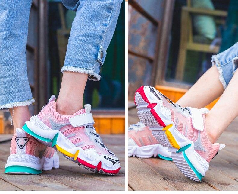 2020 herbst Regenbogen Kinder Sport Schuhe Für Mädchen Turnschuhe Studenten Atmungsaktives Mesh Kinder Schuhe Mädchen Turnschuhe Licht Schuhe Jungen