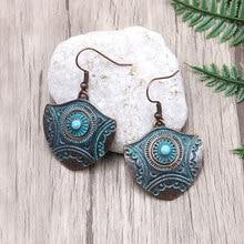 Bohemian Vintage Copper Irregular Geometric Drop Earrings Verdigris Patina Green Shield Dangle Metal Earring  Women Jewelry