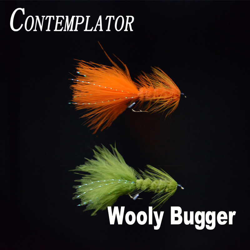 CONTEMPLATOR 10# 4pcs Wooly Bugger streamers fly fishing lures 2colors marabou feather saltwater/freshwater fly tying trout bait