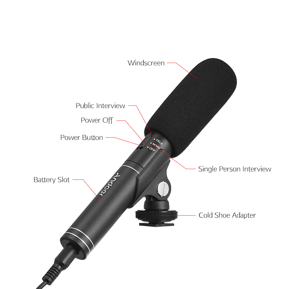 Andoer Professional Interview Microphone Switchable Omni-directional Cardioid Pick-up Mode Mic For Canon Nikon Sony DSLR