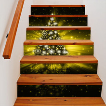 Christmas Tree Stair Stickers 3D Waterproof DIY Wall Stickers Home Decoration