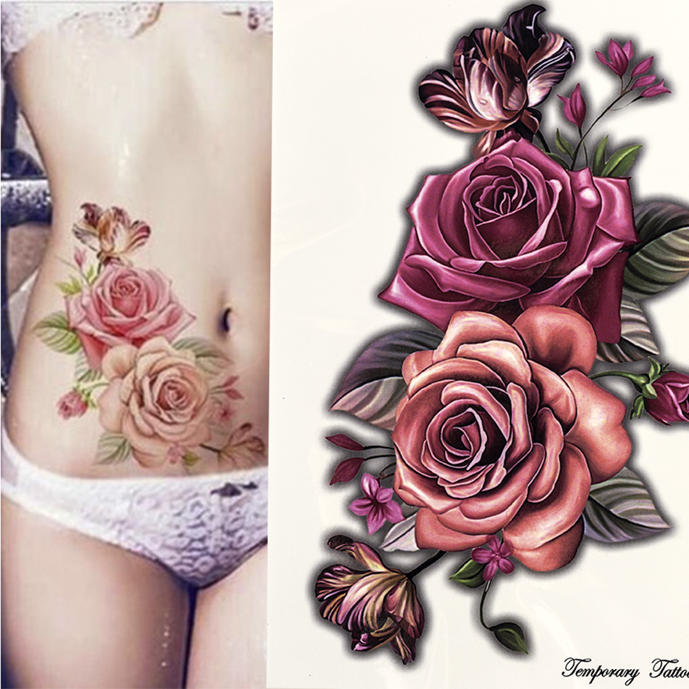 beauty 1piece make up Fake temporary tattoos stickers rose flowers arm shoulder tattoo waterproof women big flash tattoo on body(China)