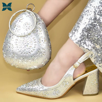 2019 New Shoe and Matching Bag for Nigeria Party African Wedding Shoes and Bag Set Italian design Women Wedding Shoes and Bag