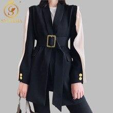 Женский Высокое качество блейзер Feminino металлический ремень с золотой пряжкой черные пиджаки для женщин модные женские куртки пальто Верхняя одежда