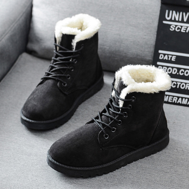 Ankle Boots For Women Winter Plush Warm Snow Female Shoes Booties Women's Plus Size 43