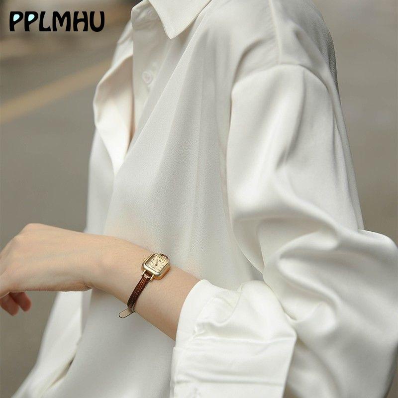 Fashion Designer Satin White Shirt Women Silk Drape Button Up Blouses Casual Loose Plus Size Long Sleeve Tops Spring New Shirts