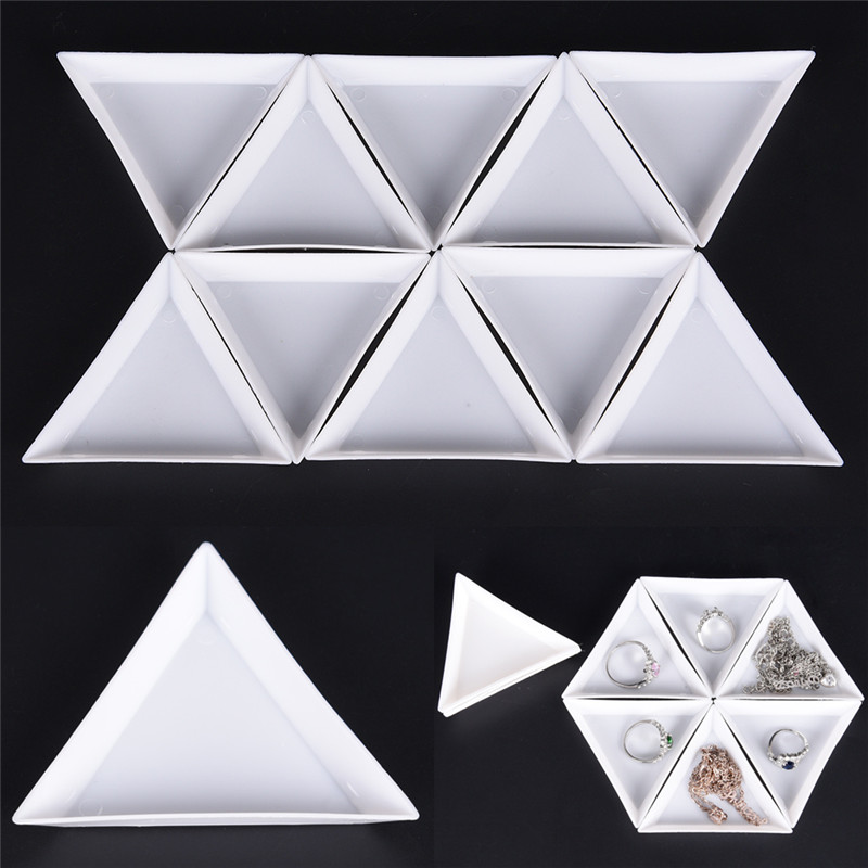 10 Pcs  PP Plastic Triangle Jewelry Plate White Plastic Foam Ball Storage Small Beads Ball Holder Dish