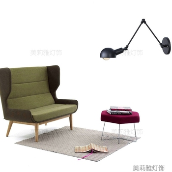 Nordic Classic adjustable modern industrial Long swing arm black wall lamp sconce vintage E27 lights for Bathroom bedroom foyer
