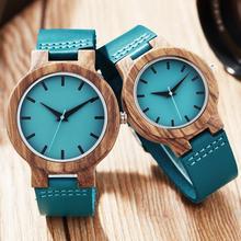BOX SET Wood Watch Men Women Couple Quartz Blue Leather Wood