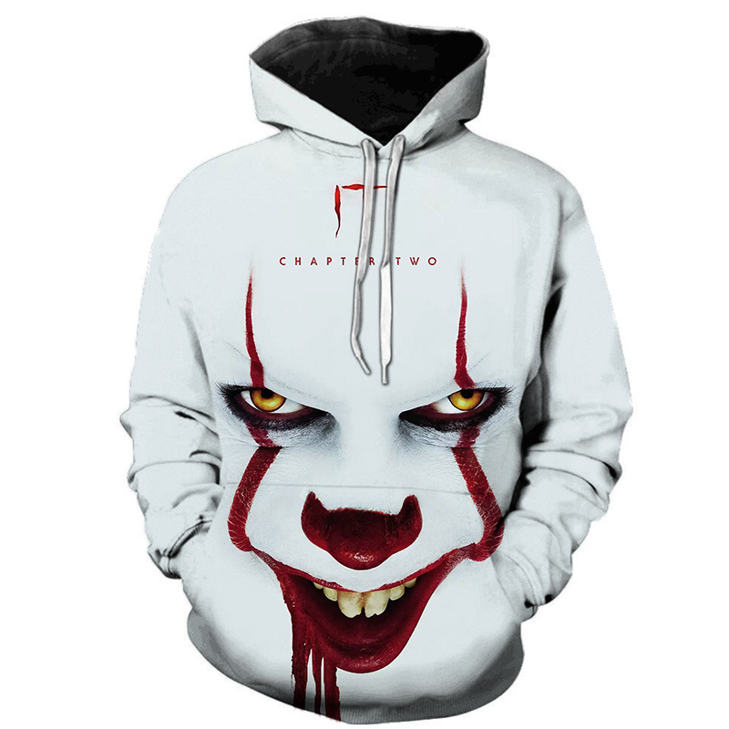 Horror Movie IT Chapter Two 3D Print Hooded Sweatshirts Men Women Fashion Casual Funny Pullover IT Clown Print Pattern Hoodies
