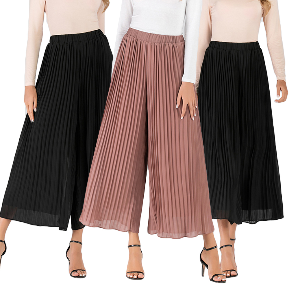 Muslim Women Wide Legs High Waist Casual Solid Pants Loose Culottes Trousers Ladies Stretch Pleated Palazzo Lounge Summer Autumn