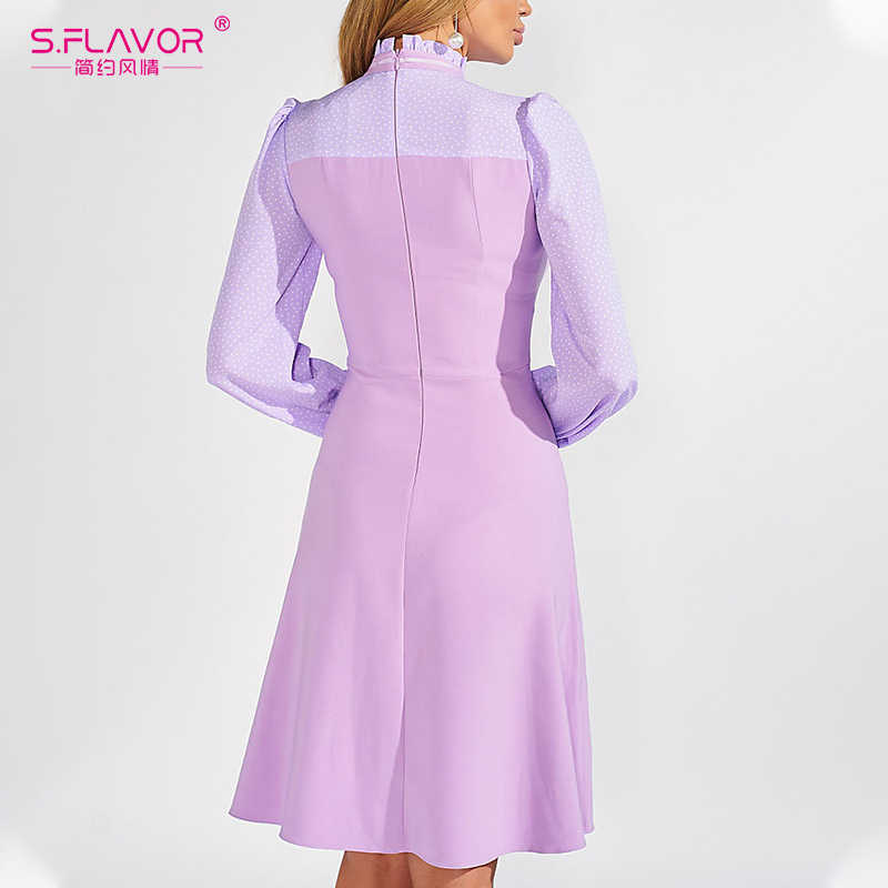 S. Smaak Slanke Patchwork A-lijn Jurk 2020 Lente Mode Coltrui Knielengte Party Dress Nieuwe Dot Print Sexy Vestidos