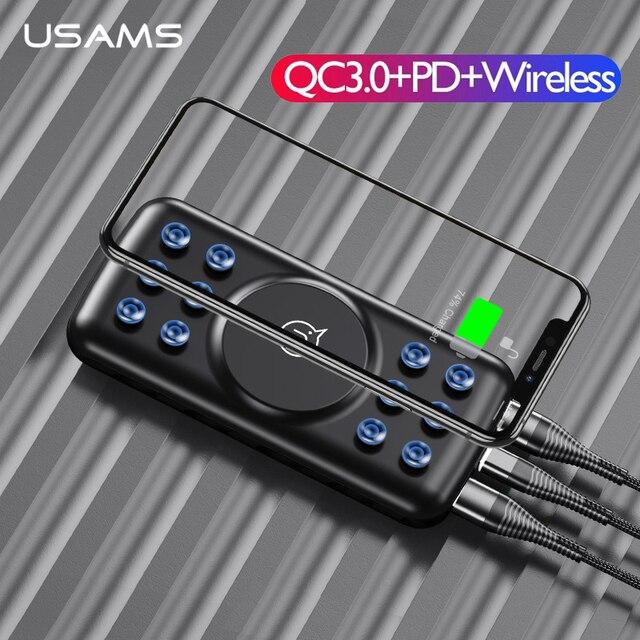 Chargeur sans fil USAMS 5V 2A Qi 10000mAh batterie dalimentation 18W QC 3.0 PD chargeur rapide batterie dalimentation avec ventouse pour iPhone Samsung