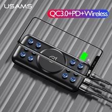 USAMS 5V 2A チーワイヤレス充電器 10000mAh 電源銀行 18 ワット qc 3.0 PD 急速充電電源銀行吸引カップで iphone サムスン