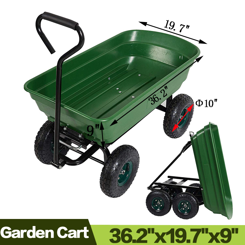 Garden Dump Utility Wagon Cart Multifunctional Sturdy Plastic Yard Lawn Cart for Wood and Cargo Carrier image