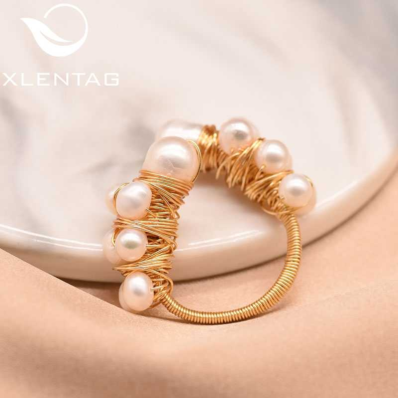 XlentAg Natural Fresh Water Baroque White Pearl Adjustable Ring For Women Handmade Cute Wedding Ring Jewelry Anelli Donna GR0190