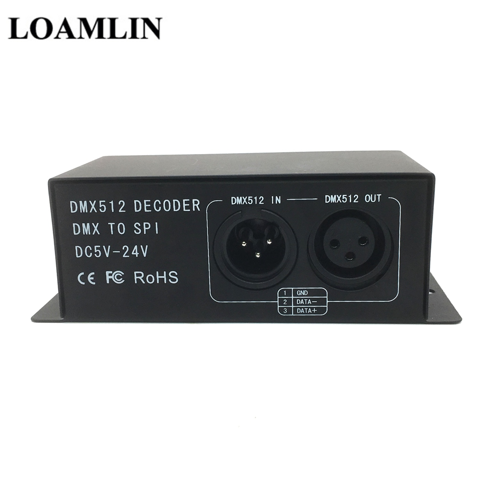 LED DMX512 Symphony Decoder  DC5-24V Magic RGB DMX512 Controller  DMX To SPI Pixel Driver For LED Strip 6803 2811 2812 1903 2801