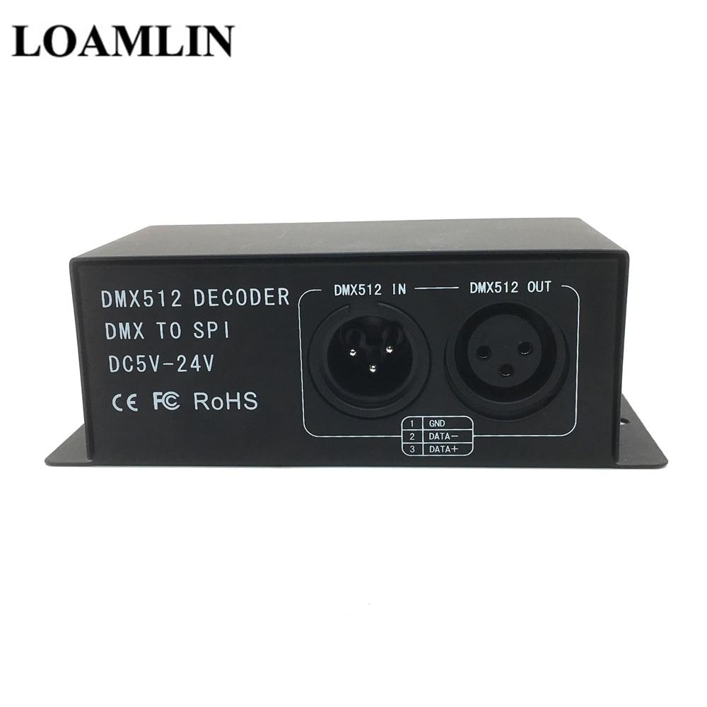 LED DMX512 Symphony Decoder  DC5-24V Magic RGB DMX512 Controller  DMX To SPI Pixel Driver For LED Strip 6803 2811 2812 1903 2801