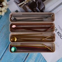 4 шт нержавеющей стали металла питьевой соломы Многоразовые трубочки+ 2 чистящих щетки комплект