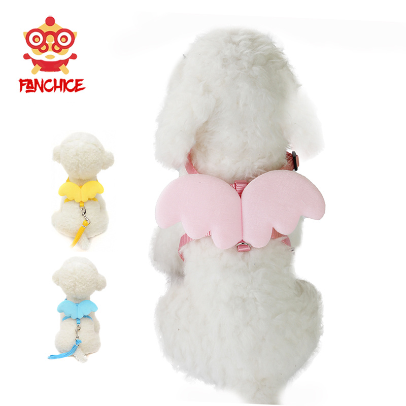 Angel Wing Pet Harness Small Pet Dog Rabbit Cat Chest Set Cute Collar Safety Belt Adjustable Outdoor Walking Leash Rope 6 Color