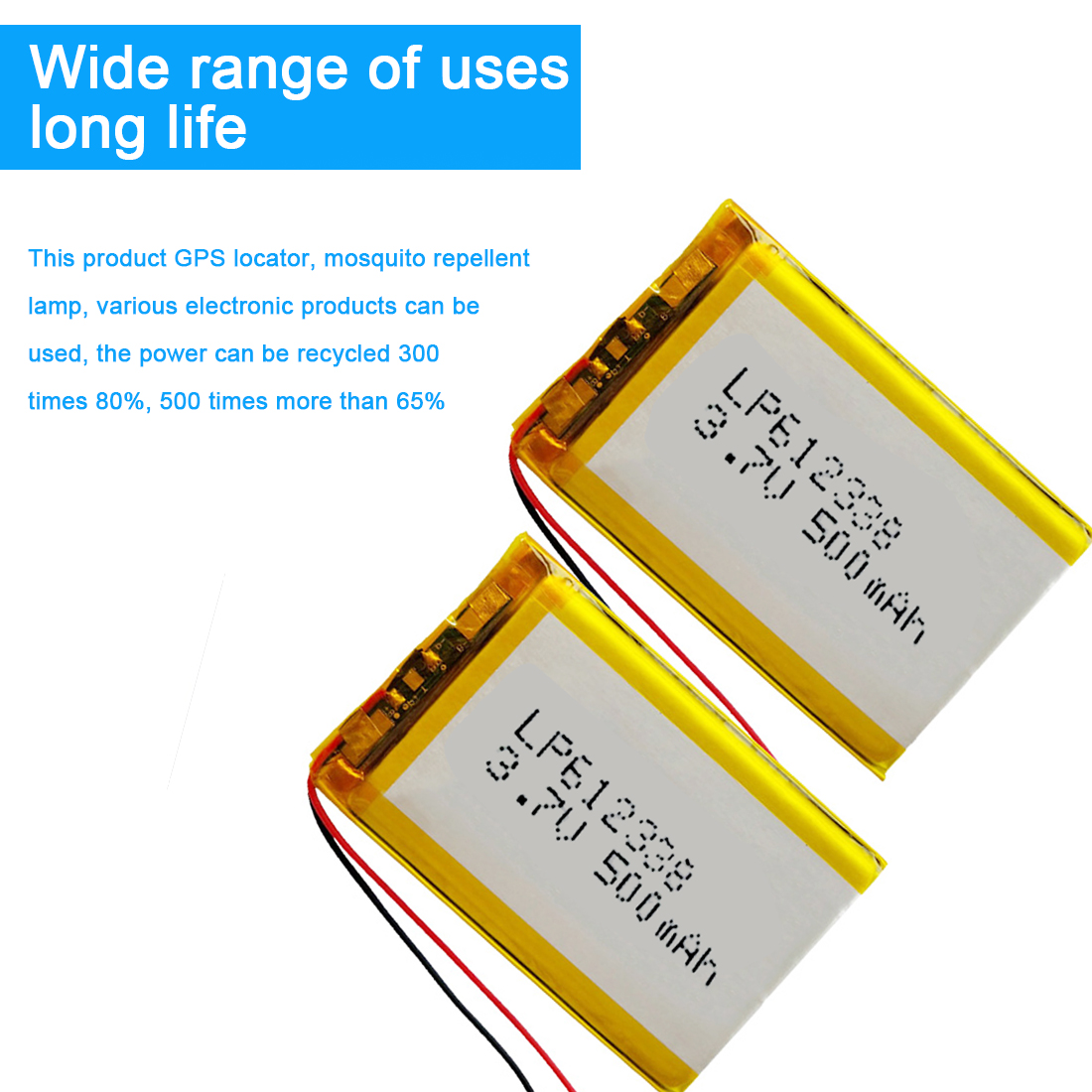 <font><b>612338</b></font> 500mAh Lithium Polymer Rechargeable Battery 3.7V Li-ion Battery for Recorder DVR GPS MP3 Cell Phone Speaker image
