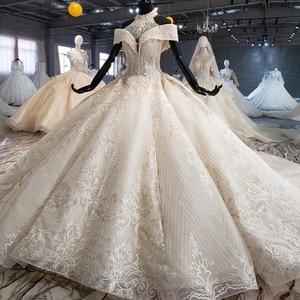 Image 3 - HTL1082 ball gown wedding dress luxury crystal high neck off shoulder bride dress gown plus size swollen tiktok weddind dress