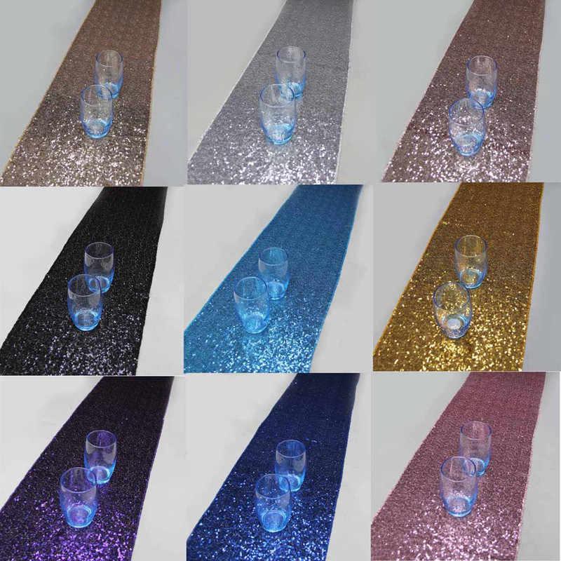Dorado plateado brillante color lentejuelas camino de mesa Estilo de lujo bordado lentejuelas camino de mesa para boda Hotel cena banquete fiesta