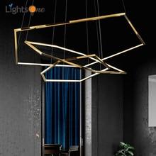 Modern duplex floor living room villa pendant light minimalist multilevel hexagonal pendant lamp