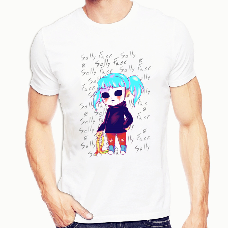 Sally Face T-shirt O-Neck Short Sleeves Summer Casual Fashion Unisex Men And Women Tshirt image