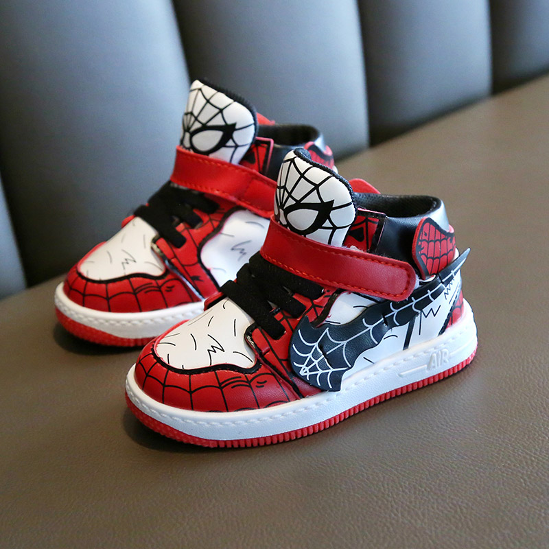 Spiderman Toddler Kids Shoes Hook And Loop Little Boys Girls Leather Sneakers Anti-slippery Rubber Bottom 2019 Brand New