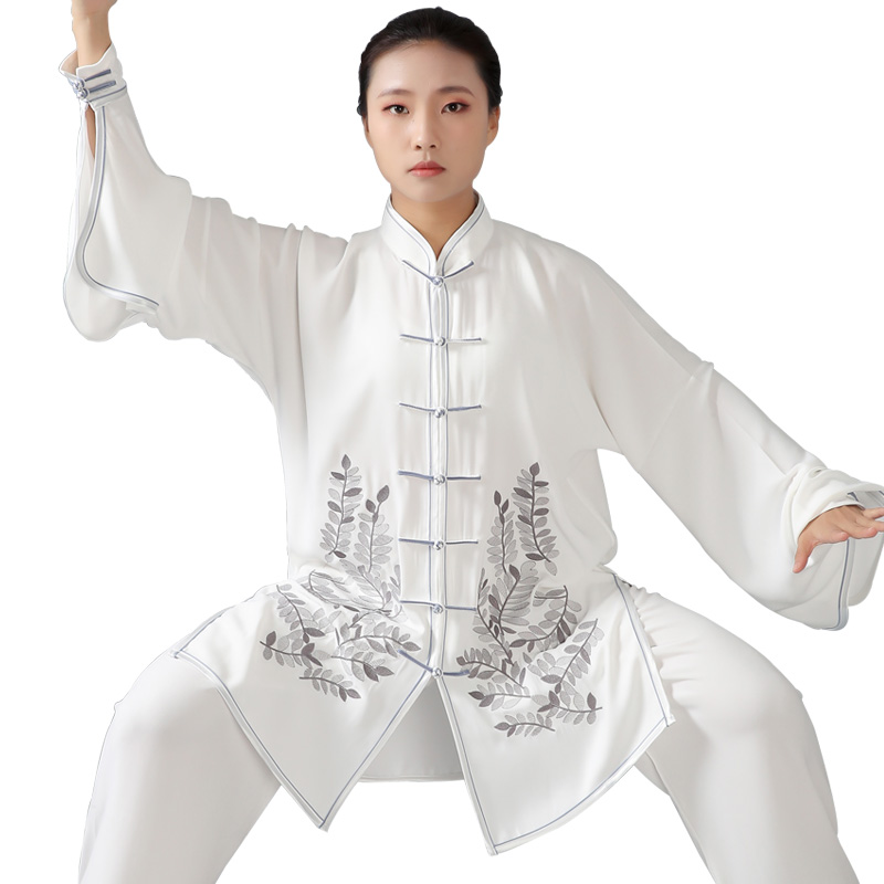 2019 Martial Arts Performance Suit Jiu Jitsu Wushu Kung Fu Uniform Tai Chi Suit Fishtail Sleeves Embroidery Loose Suit Men Women
