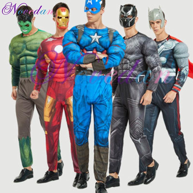 Adult Avengers Hulk Venom Spiderman Captain America Superman Ironman Super Hero Halloween Costume Muscle Superhero Cosplay