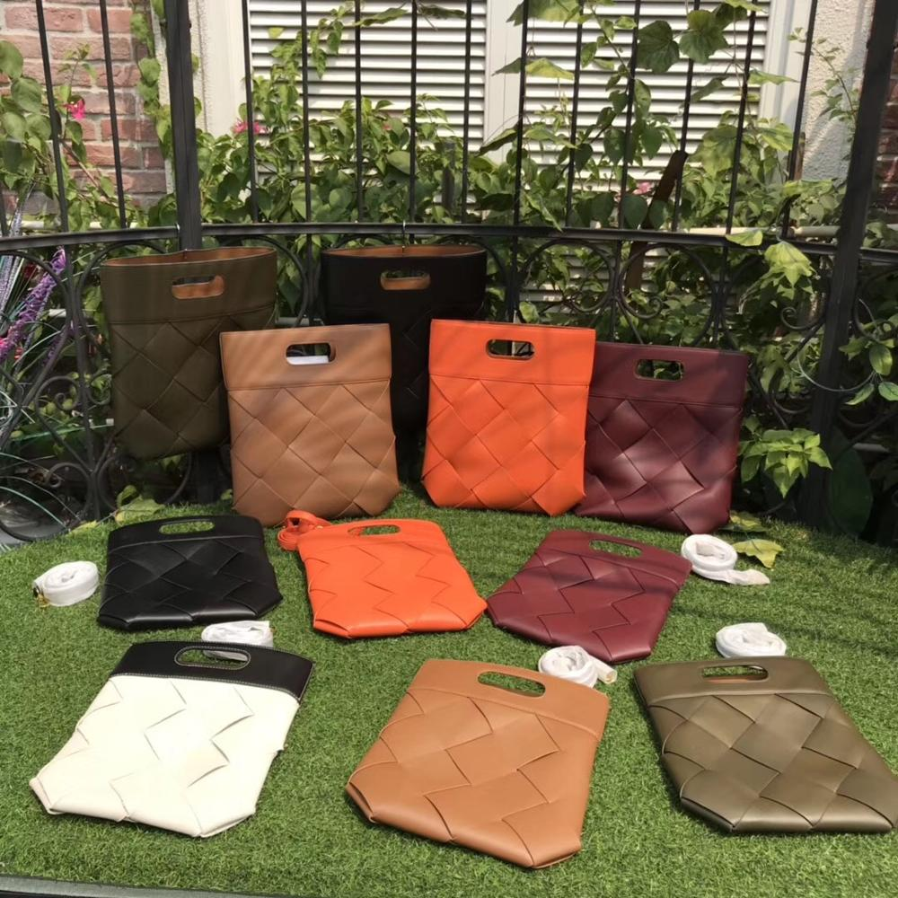 by H 2020 Spring Newest Wide Strap Braid Book Bag Big Size Woven Shoulder Bag 6 Colors Genuine Leather Luxury Designer Totebag