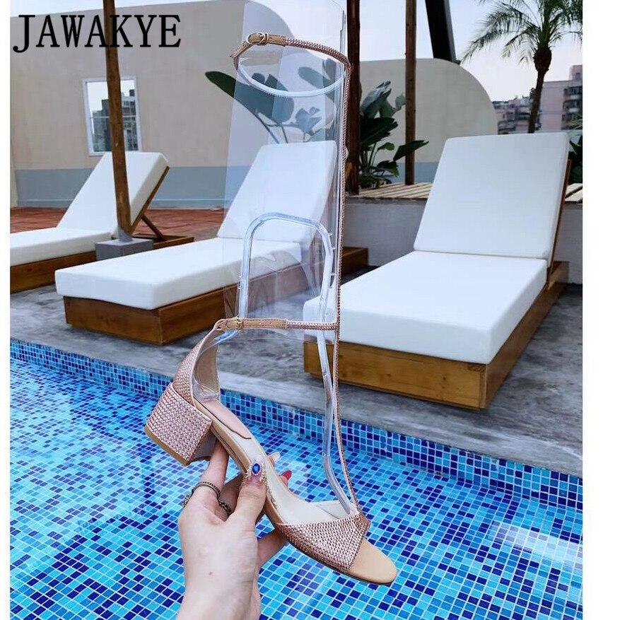 Летние блестящие сандалии с кристаллами; женская обувь до колена с Т образным ремешком; пикантные женские сандалии гладиаторы на высоком ка... - 4