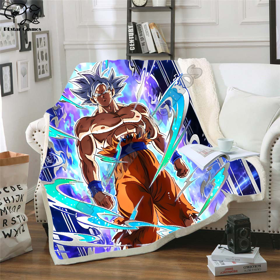 Newest Anime Dragon Ball 3D Printed Sherpa Blanket Couch Quilt Cover Travel Bedding Outlet Velvet Plush Throw Fleece Blanket 03