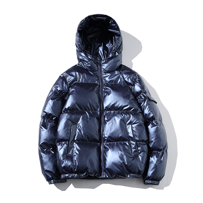 2019 Winter New Style Teenager Korean-style Short Bright Surface Cotton-padded Clothes Men's Hooded Loose-Fit Thick Warm Cotton-