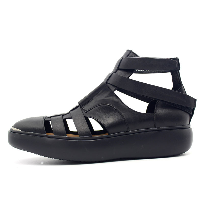 2020 New Gothic Thick Platform Mens High Top Sandals Summer Straps Beach Hollow Sandals Handmade Genuine Leather Shoes Plus Size