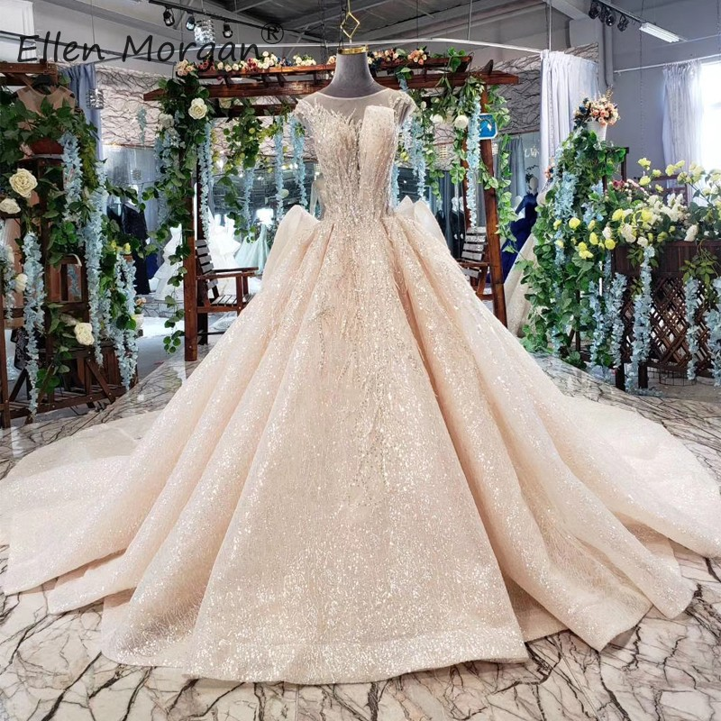 Real Photos Glitter Wedding Dress Champagne Princess Ball Gowns Sequins Ruffles Court Train Bridal Gowns Vestidos De Novia 2019