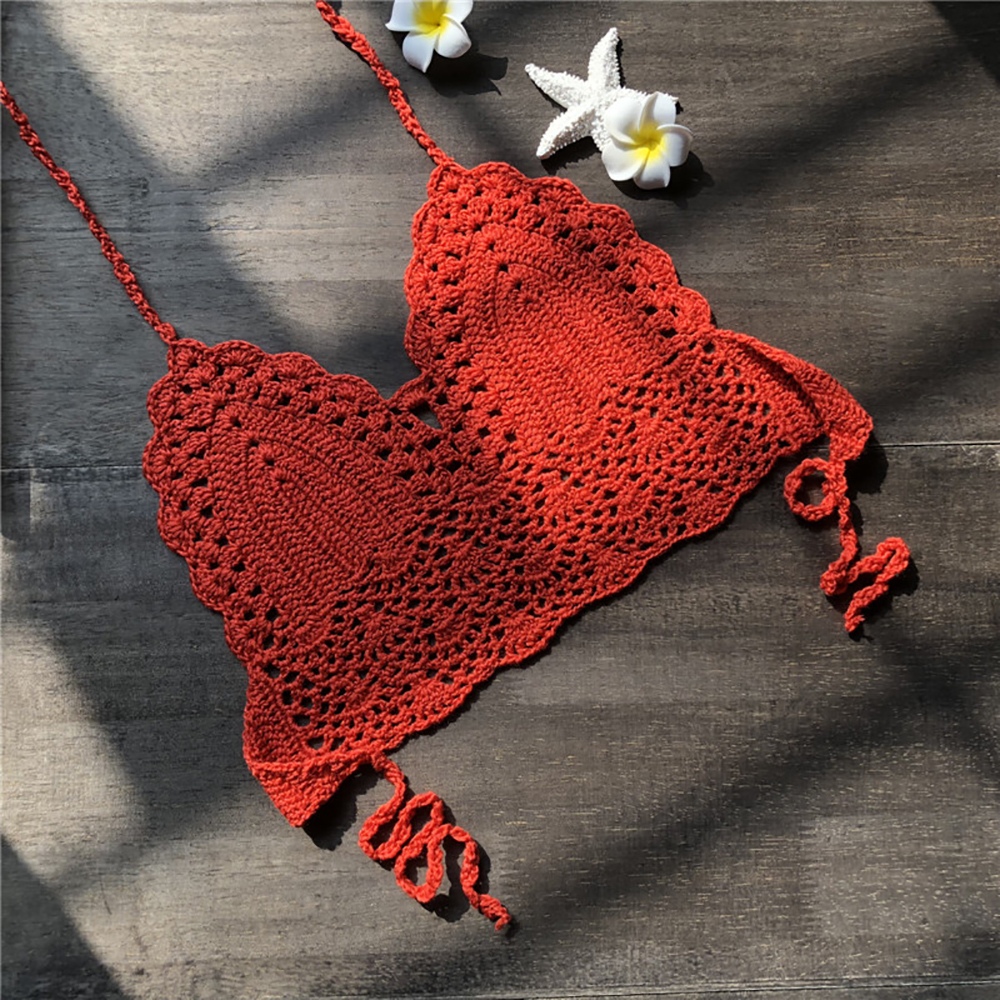 2020 Triangle Bikini Knitted Tops Woman Hollow Out Swimsuit Crochet Bikini Top Sexy Swimming Bra Large Female Beach Swimwear