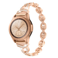 Rose GoldMetal Stainless Steel Band for Samsung Galaxy Watch Diamond 20mm Strap for Gear S3 /Galaxy Watch Active 40mm Strap 46mm