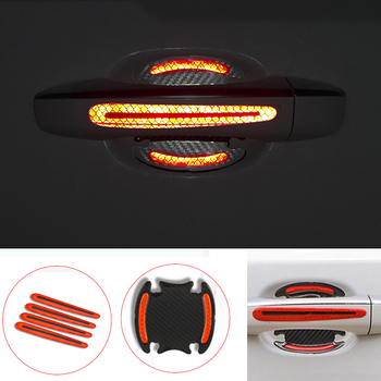 4Pcs Car Sticker Door Handle 5D Reflective Carbon Fiber Decal For Renault Megane 2 3 Clio Duster Citroen C5 C4 C3 Volvo S40 S80 image