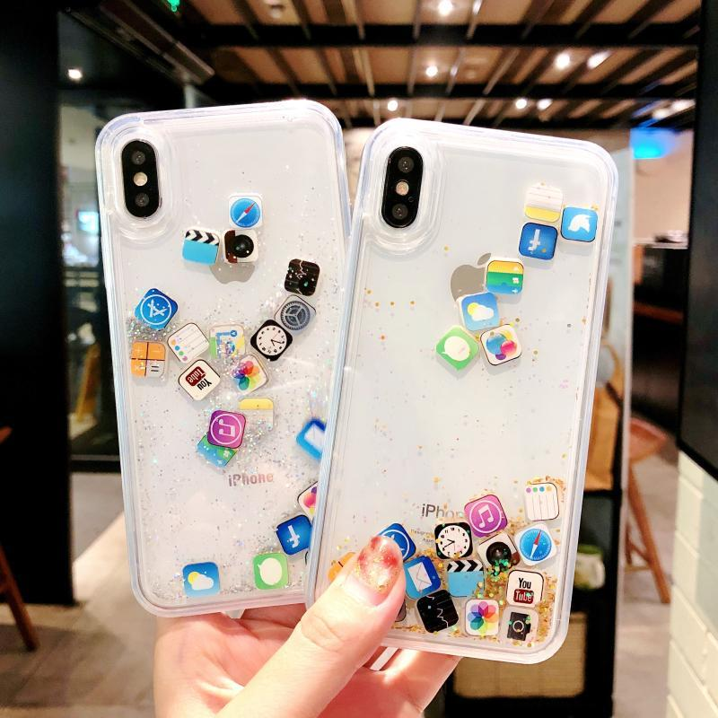 Hot Dynamic Liquid Hard PC Phone Shell For iPhone 6 6S 7 8 Plus X XS XR MAX Cover Quicksand Transparent Cute APP icon funny Capa image